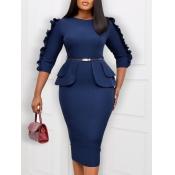 Lovely Trendy O Neck Patchwork Deep Blue Knee Length Dress