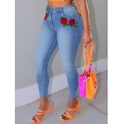 lovely Street Rose Skinny Blue Jeans