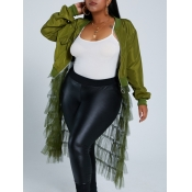 Lovely Casual Patchwork See-through Army Green Lon