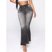 lovely Casual High-waisted Flared Black Jeans