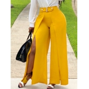 lovely Street Side High Slit Yellow Pants