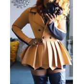 Lovely Trendy Turndown Collar Patchwork Fold Design Khaki Coat(With Belt)