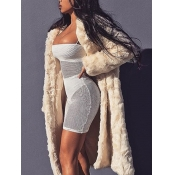 Lovely Stylish Hooded Collar Loose Beige Faux Fur