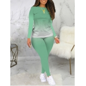 Lovely Casual O Neck Gradient Print Light Green Pl