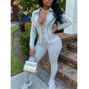 lovely Sportswear Turndown Collar Patchwork Light Grey One-piece Jumpsuit