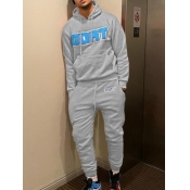 Lovely Casual Hooded Collar Letter Print Grey Men Two-piece Pants Set