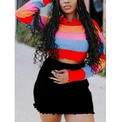 lovely Street Rainbow Striped Red Sweater