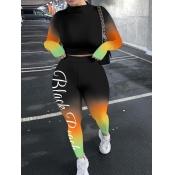 lovely Street Gradient Print Skinny Black Two Piece Pants Set