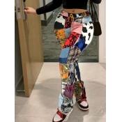 lovely Street PrintSkinny Multicolor Pants