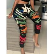 lovely Sportswear Print Skinny Black Pants(Batch P