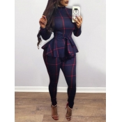 lovely Stylish Half A Turtleneck Grid Print Blue One-piece Jumpsuit