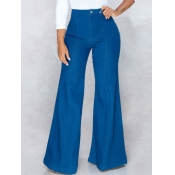 lovely Stylish High-waisted Basic Deep Blue Jeans