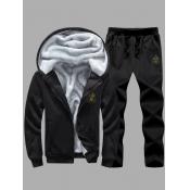 lovely Casual Hooded Collar Zipper Design Black Men Two-piece Pants Set