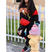 lovely Street O Neck Print Loose Black Two Piece P