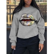 lovely Casual O Neck Lip Print Light Grey Hoodie