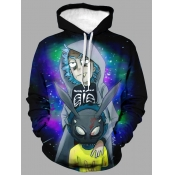 lovely Casual Hooded Collar Print Multicolor Men Hoodie