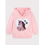 lovely Casual Hooded Collar Cartoon Print Pink Gir