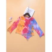 lovely Stylish O Neck Tie-dye Multicolor Girl Blou