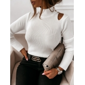 lovely Trendy Turtleneck Hollow-out White Sweater