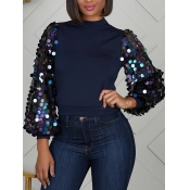 lovely Stylish Puffed Sleeves Patchwork Dark Blue