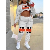 Lovely Leisure Hooded Collar Print Crop Top Grey Two Piece Pants Set