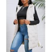 lovely Trendy Hooded Collar Zipper Design White Wa