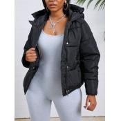 lovely Casual Hooded Collar Zipper Design Black Pa