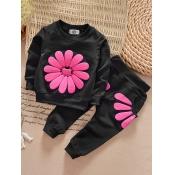 lovely Sportswear O Neck Print Black Girl Two-piec