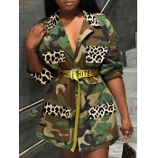lovely Stylish Turndown Collar Camo Print Coat(Without Belt)