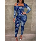 lovely Trendy Square Collar Print Skinny Blue One-