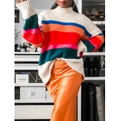 lovely Trendy Turtleneck Rainbow Striped Loose Whi