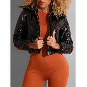 lovely Trendy Zipper Design Black Leather