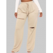 lovely Casual Broken Holes Apricot Plus Size Pants