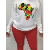 lovely Casual O Neck Print White Plus Size Hoodie