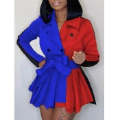 lovely Trendy Turndown Collar Patchwork Buttons Design Multicolor Coat