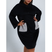 lovely Casual Hooded Collar Patchwork Black Knee L