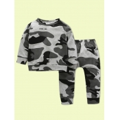 lovely Sportswear O Neck Camo Print Grey Boy Two-p