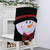 lovely Christmas Day Cartoon Black Chair Cover