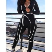 lovely Sportswear Zipper Design Patchwork Black On