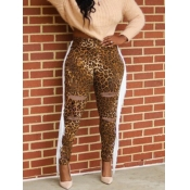 lovely Street Leopard Print Hollow-out Jeans