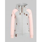 lovely Casual Hooded Collar Patchwork Pink Plus Si