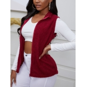 lovely Casual Turndown Collar Zipper Design Red Wa