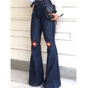 lovely Stylish Lip Print Flared Blue Jeans
