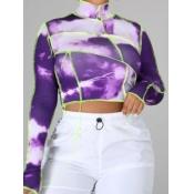 lovely Street Turtleneck Tie-dye Purple T-shirt