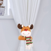 lovely Christmas Day Cartoon Brown Decorative Curt