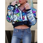 lovely Casual Sequined Patchwork Multicolor Coat