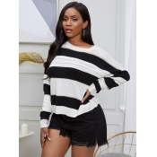 lovely Casual O Neck Striped Loose Black Sweater