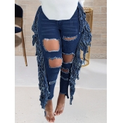 lovely Casual Hollow-out Tassel Design Deep Blue J