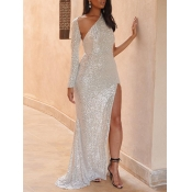lovely PartyBackless Side High SlitWhite Trailin