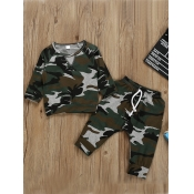 lovely Sportswear O Neck Camo Print Boy Two-piece